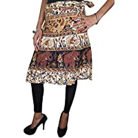 Mogul Interior Wrap Around Skirt Cotton Beige Brown Ethnic Printed Boho Midi Wrap Skirts