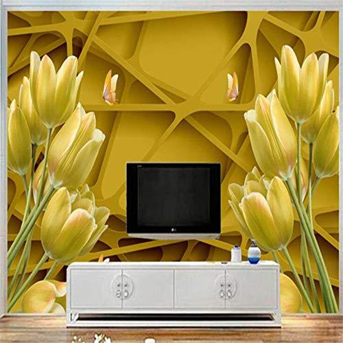 Pbldb Gold Lily Blumen Tapeten Für Wände 3D Wände Wandbilder FototapetenGeometrieTapetenFür Wohnzimmer Wohnkultur-120X100Cm