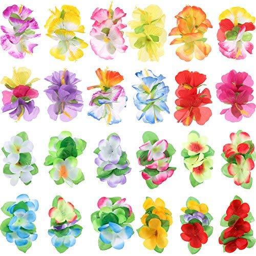 Lvcky 24Stück Farbigen Hibiskus Blume Haar Clips Hawaiian Hula Kostüm Party Zubehör (Multicolor B, klein und groß)