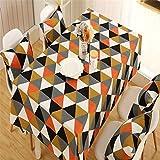 Tischdecke,Tischtuch,Table Cloth moderne und verdickt polyester baumwolle segeltuch umgekehrten dreiecks geometrischem design rechteckige tisch tischdecken orange,140x180cm