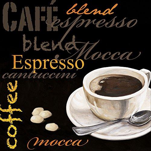 Artland Qualitätsbilder I Bild auf Leinwand Leinwandbilder Wandbilder 30 x 30 cm Ernährung Genuss Getränke Kaffee Malerei Schwarz A6PQ Espresso Kaffee - Espresso Leinwand