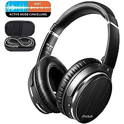 OneAudio Casque à Annulation Active du Bruit Oreillette Bluetooth sur Oreille avec réduction du Bruit Active ANC, Microphone intégré, Noir