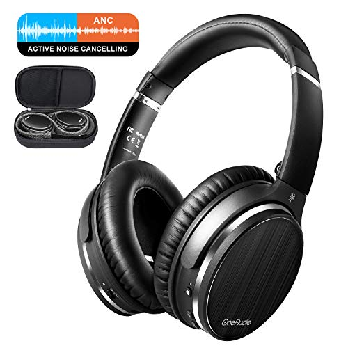OneAudio Casque à Annulation Active du Bruit Oreillette Bluetooth sur Oreille avec réduction du Bruit Active ANC, Microphone intégré, Noir