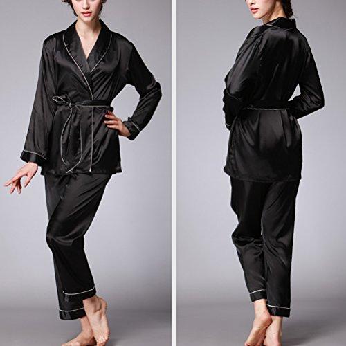 Zhhlaixing Charming Womens Silk Pajamas Set Fashion Home Casual Long sleeves Nightwear Black