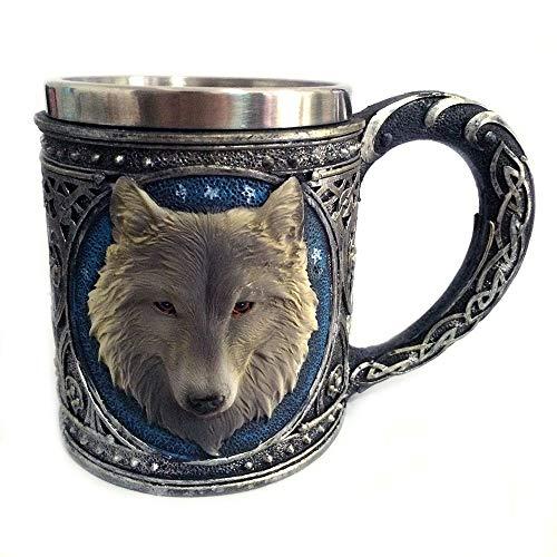 HCFKJ ☕, 3D Wolf König Kopf Muster Becher Retro Harz Edelstahl Kaffee Tee Tasse 15oz (MUL) Shell Winter Liner