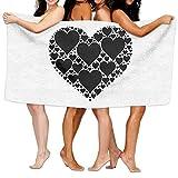 Gebrb Duschtücher/Badetücher,Strandtücher, Bath Towels, Black Hearts White, Super Soft Ultra Absorbent Bath Towel Beach Towels for Girls, Bath Set Bathroom Accessories