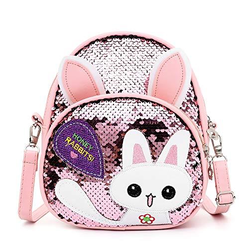 Frecoccialo Kinderrucksack Cartoon Kaninchen Rucksack Pailletten Kindergartenrucksack Schultasche Backpack für 1-5 Jährige Mädchen im Kindergarten oder Kita