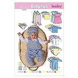 Butterick Schnittmuster B5585 Babyausstattung Strampler Bodies Mützen Kleidchen 0-6 Monate