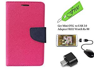 Novo Style Fancy Diary Wallet Flip Cover Case For Samsung GalaxyOn7 Pink With FREE Stylish Little Adapter Micro USB OTG to USB 2.0 Adapter