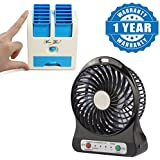 Drumstone Portable Electric Cooling Handheld Rechargeable Li-ion Battery USB Mini Fan with Mini Portable Dual Bladeless Small Air Conditioner Water Air Cooler Powered by USB & Battery Compatible with All Smartphones (One Year Warranty)