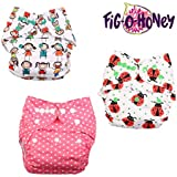 Fig O Honey Reusable New Born Baby Cloth Diapers | Multi-Color Baby Cloth Nappy With Free Absorbent Inserts | Washable Elastic Cloth Diapers | Reusable Elastic Printed Cloth Diapers | ( All Smiles, Ladybug & Pink Polka Dots Print Combo )