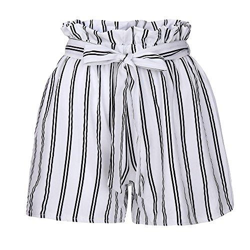 KUDICO Damen Shorts Retro Gestreifte Kurz Hose Beach Sommerhosen mit Elastischem Taillenband High Waist Sporthosen Hotpants Strandshorts(Weiß, Small)