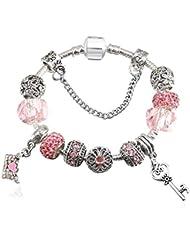 295e62b4dd70 QWERST Bracelet Estilo Europeo Vintage Silver Plated Crystal Charm Bracelet  Mujer Encaje Fino Brazalete Original Joyas