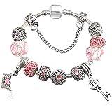 QWERST Bracelet Vintage Style Européen Crystal Bracelet Plaqué Argent Femme Moulant Fine Original Bijoux Bracelet,20Cm