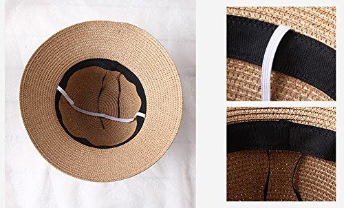 Femme / Fille Chapeau Paille Capeline Panamas Chapeau de Soleil Chapeau de Plage Été Élégant Kaki 01