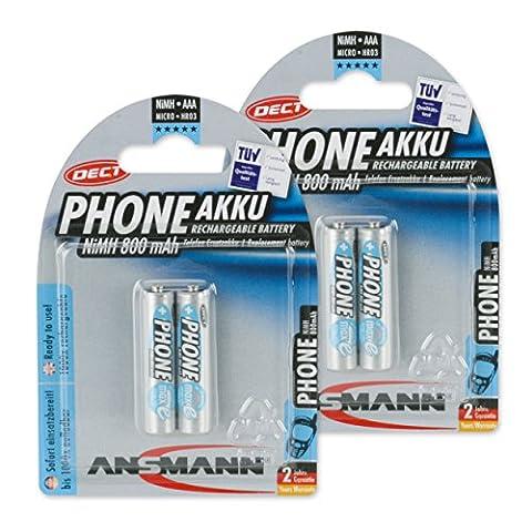 Ansmann Maxe DECT Micro 4x AAA type de batterie 800mAh autodécharge faible Phone Batterie pour téléphones sans fil