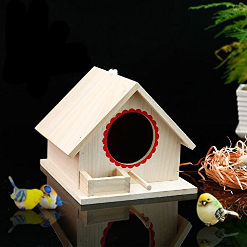 OMGO Hianiquaime Nichoir pour Oiseaux Perroquet Perruche en Bois Nid Tressé en Herbe Maisonnette Naturel d'oiseaux 02