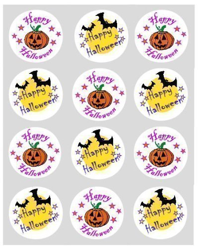 12 Happy Halloween Reispapier Muffin / Cup Cake Kucken Dekoration 40mm (Cupcakes Einfache Dekorationen Halloween)