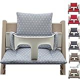 Blausberg Baby - Sitzkissen Kissen Polster Set für Stokke Tripp Trapp Hochstuhl- Einheitsgröße, Grau Stern beschichtet