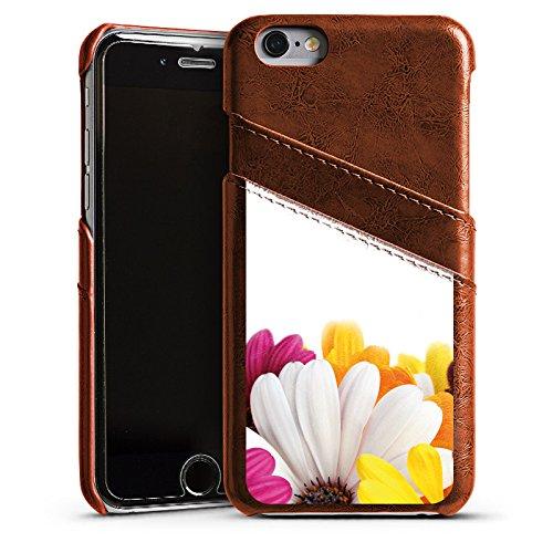 Apple iPhone 5s Housse Étui Protection Coque Fleurs Fleurs Marguerite Étui en cuir marron