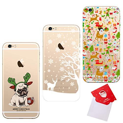 HopMore 3 Hüllen Silikon für iPhone 6S / 6 (4.7 inch) Handyhülle Transparent Durchsichtig Weihnachten Muster Dünn Hülle Schutzhülle Stoßfest Cover mit Weihnachtskarte - Hund Hirsch Santa Claus -
