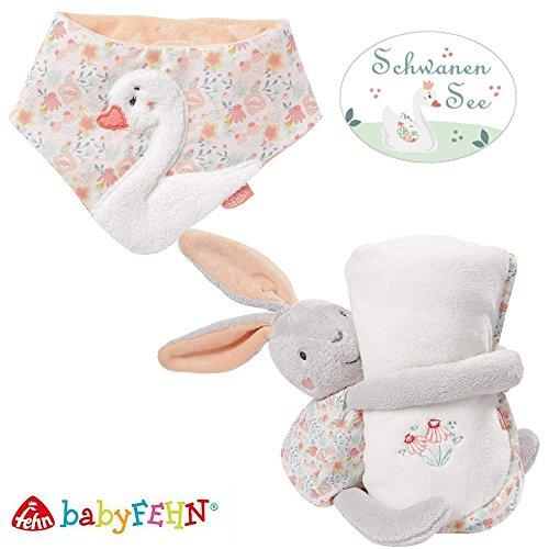 Baby Fehn 2er Spar-Set Schwanen See // Spieltier Hase 47cm, Kuscheldecke 75 x 100 cm mit Zartem Blumenmuster & Baby-Halstuch
