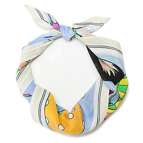 MOSCHINO FOULARD Sciarpa da Donna, Blu/Bianco/Multicolore, Taglia unica