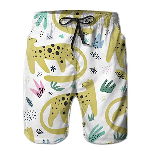 Men's Shorts Leopard Flat Hand Drawn Seamless Pattern Quick Dry Swim Trunks Beach Board Shorts Medium -