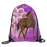 OQUYCZ Unisex Horse and Pink Rose Print Drawstring Backpack Rucksack Shoulder Bags Gym Bag Sport Bag