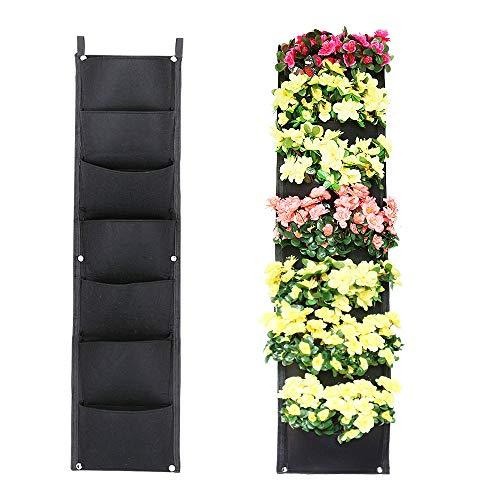 Xben vertikale Wandbehang Pflanzgefäße, 7 Taschen, für drinnen und draußen, große Pflanztaschen für Balkon, Garten, Hof, Büro, Heimdekoration -