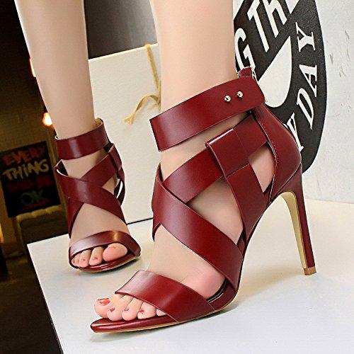 Lgk & Fa Talons Hauts Avec Une Belle Femme Rome Sandales Toe Crossed Bretelles All-match Chaussures 36 Apricot 36 Vin Rouge