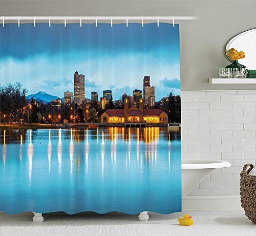 urtain, Downtown Denver Ferril Lake Colorado at The Morning City Park Capital, Fabric Bathroom Decor Set with Hooks, 60x72 inches, Sky Blue Yellow Orange ()
