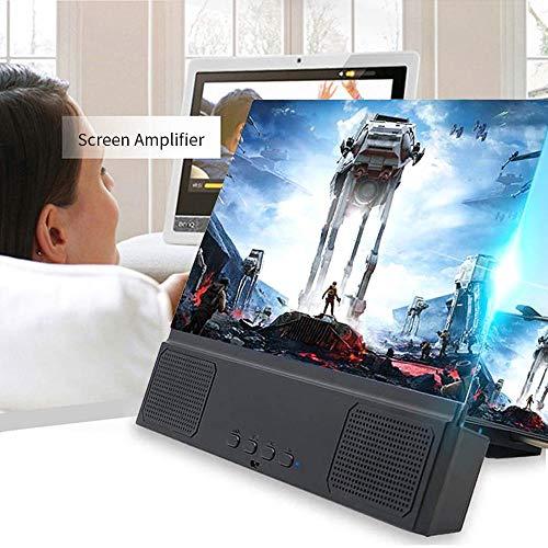 lesgos Telefon Projektor Bildschirm, 12 Zoll 3D-Handy-Bildschirmvergrößerer mit kabellosem Lautsprecher, HD-Handyhalter für tragbare Filme und Verstärker für alle iOS- und Android-Smartphones