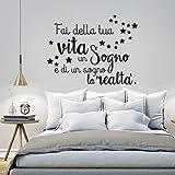 """01253 Adesivo murale Wall Art""""Fai della tua vita un sogno"""" - Misure 100x77 cm - Nero - Decorazione parete, adesivi per muro, carta da parati"""