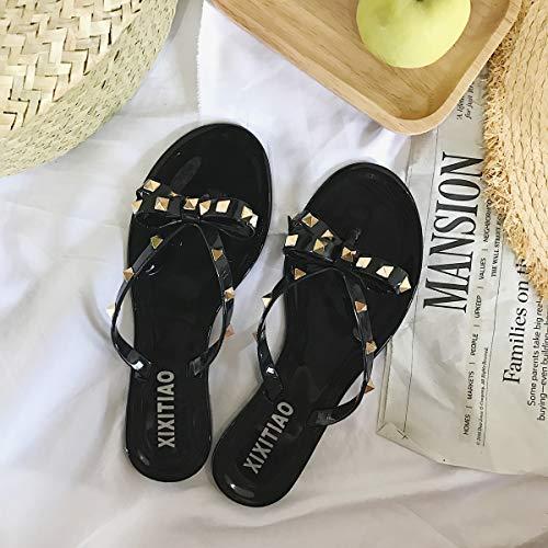 Shukun Zehen Flip Flops Sommer Sandalen Damenmode Niet Bow Flat Flip Flops Outdoor Jelly Retro Hausschuhe,37,Schwarz