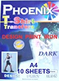 A4 Size Iron On T Shirt Transfer Paper FOR Dark Colour Fabrics 10 Sheets : print your own designs, company logos, Business marketing, motos, motifs, clip art, digital camera photos of family, friends, pets, bithhdays, hobby clubs, football clubs, Pub quiz, hen and stag party using ink jet printers