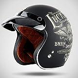 SXC Motorrad Harley Helm Jet-Helm Roller Retro Mofa Scooter-Helm 3/4 Motorrad-Helm,...