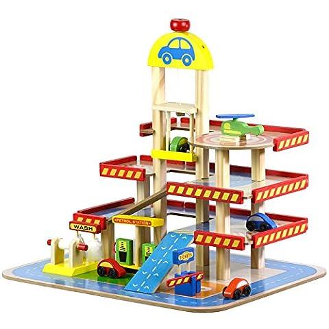 Mehrstöckiges Parkhaus aus Holz mit Tankstelle – beinhaltet Spielzeugautos und Zubehör (Holzspielzeug Parkhaus)