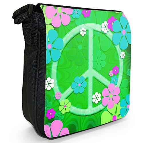 Motivo: fiori in stile Hippy con simbolo della pace in tela con tracolla, colore: nero, taglia: S Nero (Green Flower Power Peace Sign)