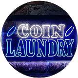 ADV PRO Coin Laundry Clothes Shop Dual Color LED Enseigne Lumineuse Neon Sign Blanc et Bleu 600 x 400mm st6s64-i3599-wb