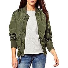 Minetom Chaqueta Cazadora Corta Jacket Bomber ParchesBiker Coat para Mujer