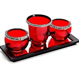 Aapno Rajasthan Red Glass Tea Light Holder For Diwali