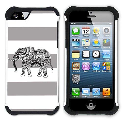 Graphic4You Stammes- Elefant Linien Muster (Wasserblau) Hart + Weiche Kratzfeste Hülle Case Schale Tasche Schutzhülle für Apple iPhone SE / 5 / 5S Grau
