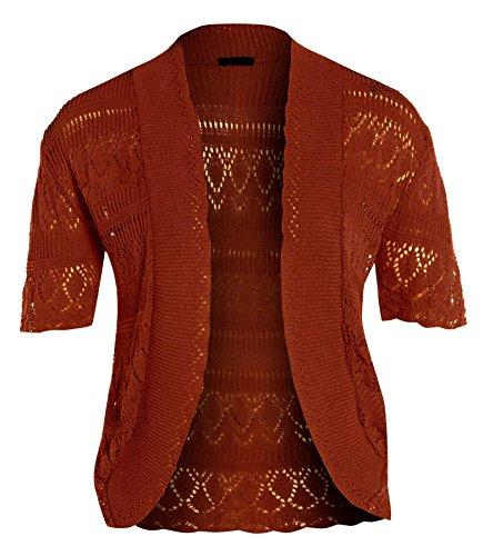 nouveaux Femmes Crochet Knit Cardigans résille Bolero Tops 44-54 Rust