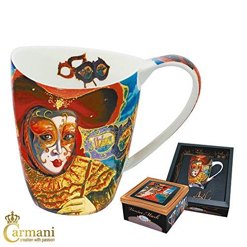(CARMANI - Porzellan-Becher Porzellan Tee oder Kaffeetasse mit 'Venedig Maske' von Alex Levin 400 ml)