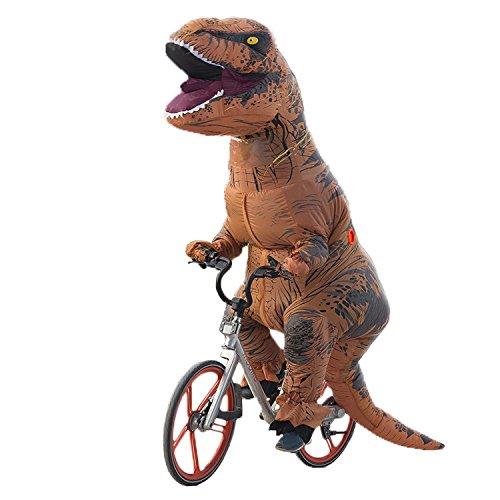Superstar88 Aufblasbare Dinosaurier Sumo T-Rex Kostüm - Lustige Partei Kostüm Halloween Outfit - mit Batterie betriebenen Ventilator (Erwachsene Körpergröße von 150–200cm, Dinosaurier Braun)