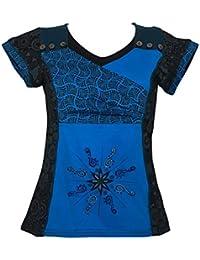 T-Shirt Thaina Patchwork géométrique Turquoise