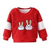 Livoral Kleinkind scherzt Starkes Pullover-Sweatshirt des Baby-Jungen-Mädchens übersteigt warme Kleidungs-Ausstattungen(C-Rot,3-4 Jahre)