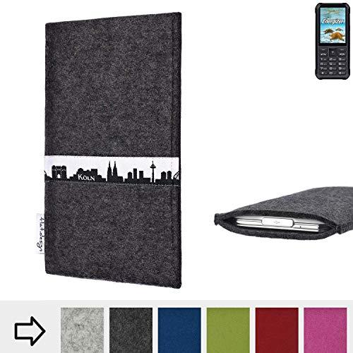 flat.design für Energizer H20 Schutzhülle Handy Tasche Skyline mit Webband Köln - Maßanfertigung der Schutztasche Handy Hülle aus 100% Wollfilz (anthrazit) für Energizer H20