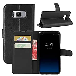 Samsung galaxy s8 plus / s8+ case cover,pu leather material work as screen protector,accommodate with tempered glass,screen guard,flip,book style,wallet,card slot,magnetic lock,mobile accessories by Cosmos Corporation – Black